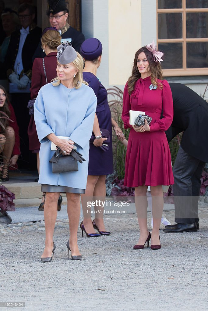 Eva Maria Walter and Princess Sofia of Sweden are seen at Drottningholm Palace for the Christening of Prince Nicolas of Sweden at Drottningholm Palace on October 11, 2015 in Stockholm, Sweden.