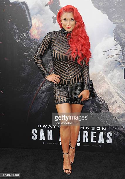 Eva Marie arrives at the Premiere Of Warner Bros Pictures' 'San Andreas' at TCL Chinese Theatre on May 26 2015 in Hollywood California