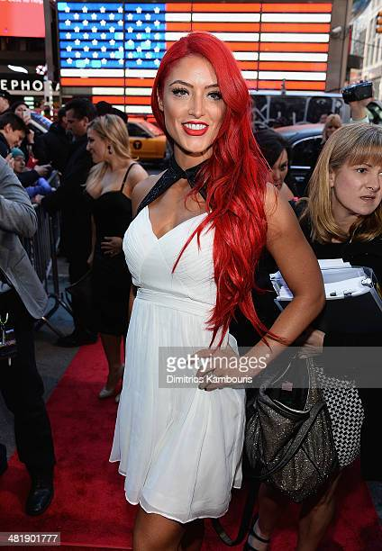 Eva Marie attends the WrestleMania 30 press conference at the Hard Rock Cafe New York on April 1 2014 in New York City