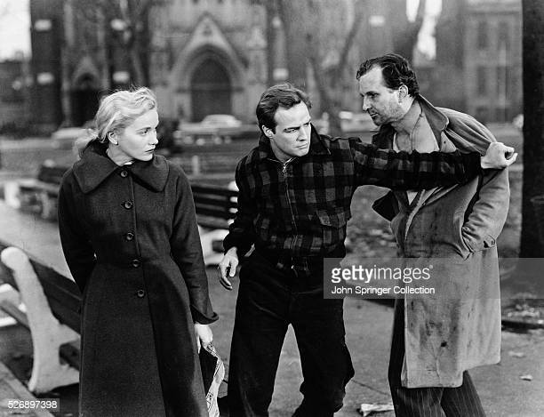 Eva Marie Saint as Edie Doyle and Marlon Brando as Terry Malloy in On the Waterfront.