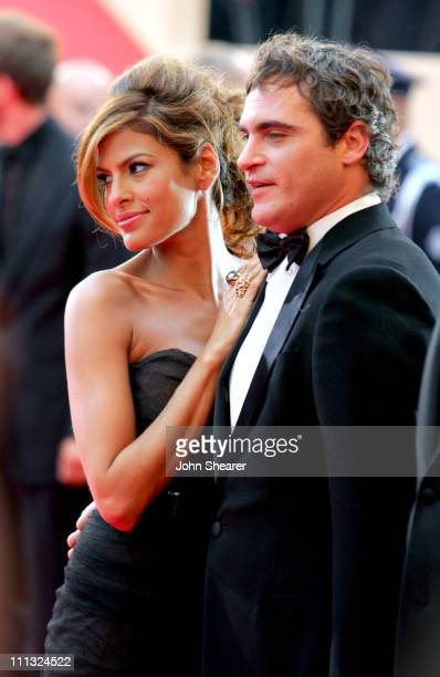 Eva Mendes and Joaquin Phoenix during 2007 Cannes Film Festival 'We Own The Night' Premiere at Palais des Festivals in Cannes France