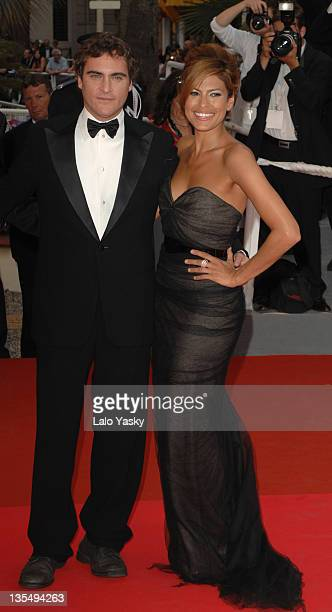 "Eva Mendes and Joaquin Phoenix during 2007 Cannes Film Festival - ""We Own The Night"" Premiere at Palais des Festivals in Cannes, France."