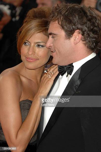"""Eva Mendes and Joaquin Phoenix during 2007 Cannes Film Festival - """"We Own The Night"""" Premiere at Palais des Festivals in Cannes, France."""