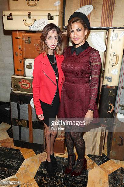 Eva Mendes and Lizzie Velasquez attend the Eva Mendes New York Company fashion show during September 2016 New York Fashion Week at Academy Mansion on...