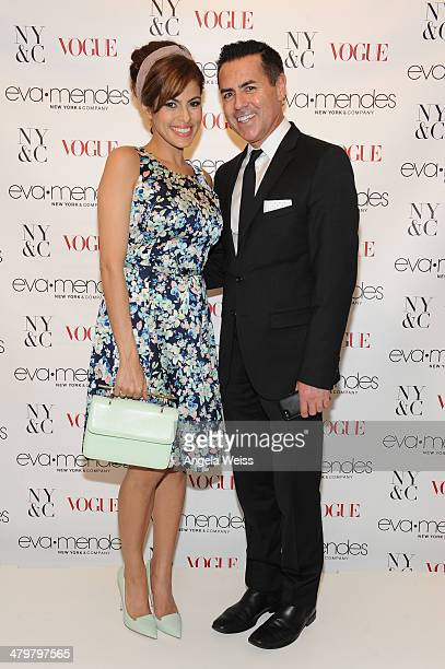 Eva Mendes and president and CEO of New York Company Greg Scott attend the Eva Mendes For New York Company Spring Launch at the Los Cerritos Center...