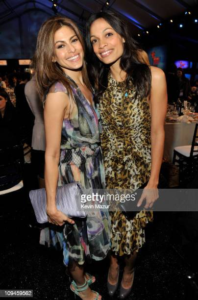 Eva Mendes and Rosario Dawson attends the 2011 Film Independent Spirit Awards at Santa Monica Beach on February 26 2011 in Santa Monica California