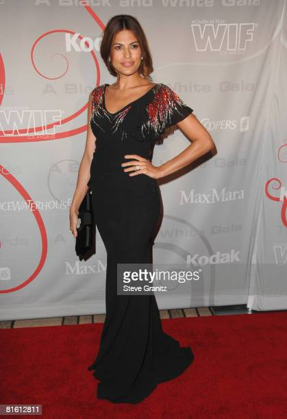 Eva Mendes arrives at The 2008 Crystal Lucy Awards 'A Black And White Gala' on June 17 2008 at the Beverly Hilton Hotel in Beverly Hills California