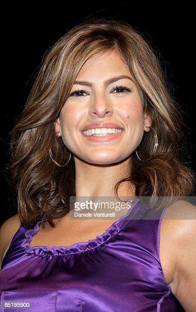 Eva Mendes attend the Dolce Gabbana show during Milan Fashion Week Womenswear Autumn/Winter 2009 on March 2 2009 in Milan Italy