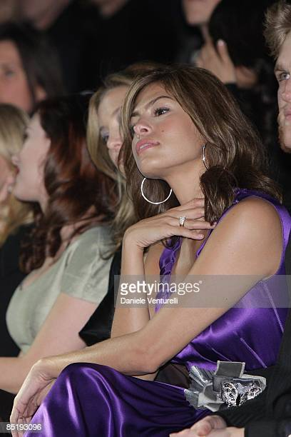 Eva Mendes attends the Dolce Gabbana show during Milan Fashion Week Womenswear Autumn/Winter 2009 on March 2 2009 in Milan Italy