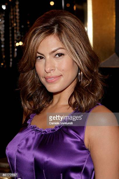 Eva Mendes attends the Dolce Gabbana VIP Room during Milan Fashion Week Womenswear Autumn/Winter 2009 at the Metropole on March 2 2009 in Milan Italy