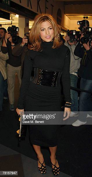 Eva Mendes attends the launch party for new range of bags created by Mulberry for Giles at Harvey Nichols on January 30 2007 in London England