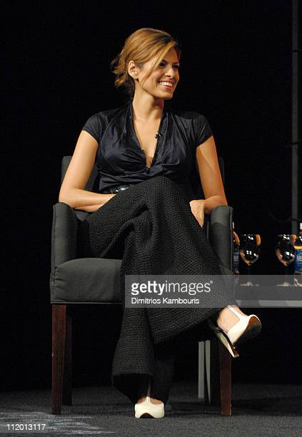 Eva Mendes during Bringing Home the Bacon Press Conference at Tribeca Performing Arts Center in New York City New York United States