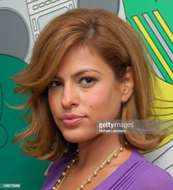 Eva Mendes during Eva Mendes and Danity Kane Visit MTV's 'TRL' August 7 2006 at MTV Studios Times Square in New York City New York United States