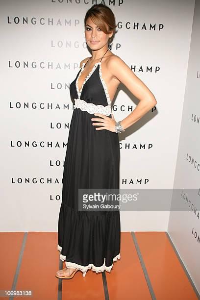 Eva Mendes during La Maison Unique Longchamp US flagship Grand opening party arrivals at La Maison Unique Longchamp Boutique in New York New York...