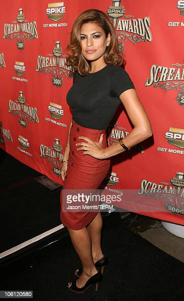 Eva Mendes during Spike TV's 'Scream Awards 2006' Red Carpet at Pantages Theater in Hollywood California United States