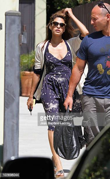 Eva Mendes is seen leaving her gym on July 7, 2010 in Los Angeles, California.