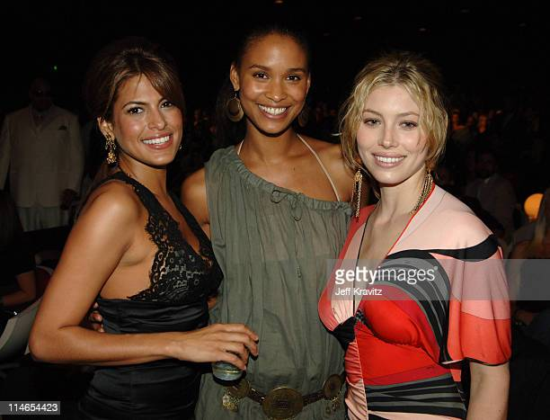 Eva Mendes Joy Bryant and Jessica Biel during 2005 MTV Movie Awards Backstage and Audience at Shrine Auditorium in Los Angeles California United...