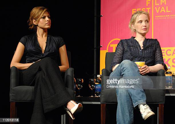 Eva Mendes Julie Delpy during Bringing Home the Bacon Press Conference at Tribeca Performing Arts Center in New York City New York United States