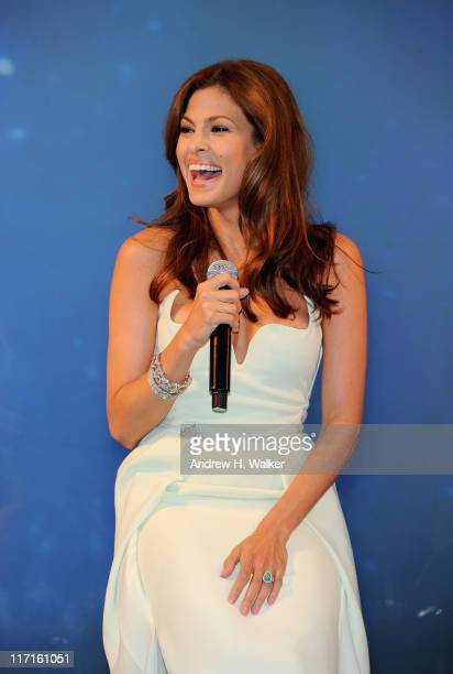 Eva Mendes reveals her new campaign for Angel by Thierry Mugler at IAC Building on June 23 2011 in New York City