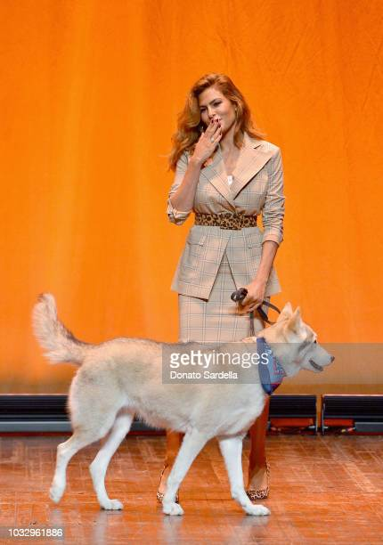 Eva Mendes speaks onstage during Eva Mendes New York Company Fall Holiday 2018 Fashion Show at The Palace Theatre on September 13 2018 in Los Angeles...