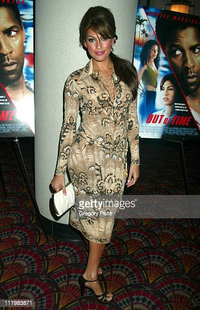 Eva Mendes wearing a vintage dress by Leonard during Out of Time New York Premiere at Loews Theater Lincoln Square in New York City New York United...