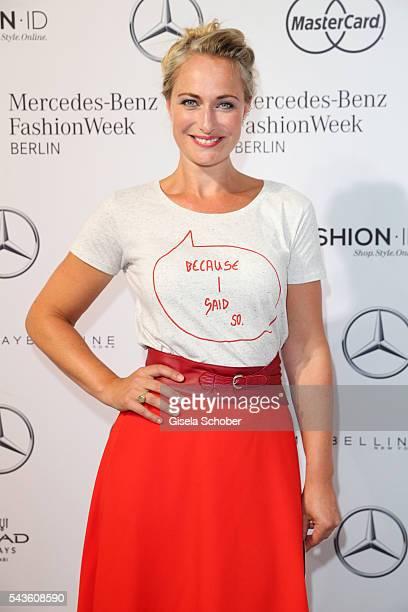 Eva Mona Rodekirchen attends the Rebekka Ruetz show during the MercedesBenz Fashion Week Berlin Spring/Summer 2017 at Erika Hess Eisstadion on June...