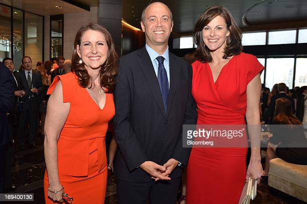 Eva Moskowitz founder and chief executive officer of Success Academy from left David Saltzman executive director of Robin Hood Foundation and...