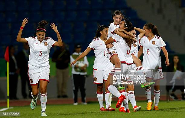 Eva Navarro of Spain celebrates after scoring her team's second goal with team mates during the FIFA U17 Women's World Cup Quarter Final match...