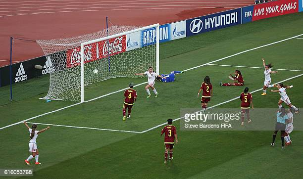 Eva Navarro of Spain celebrates scores a goal during the FIFA U17 Women's World Cup Jordan 2016 third place play off match between Venezuela and...