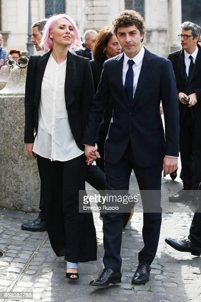 Eva Nestori and Michele Riondino arrive at the 61 David Di Donatello nominees presentation at Palazzo del Quirinale on March 27 2017 in Rome Italy