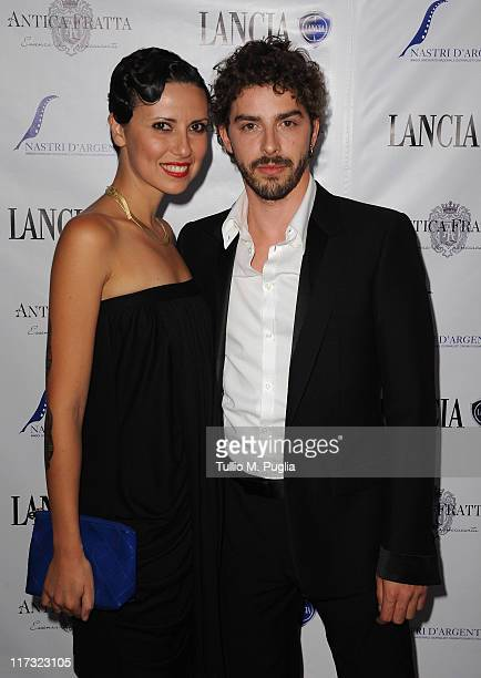 Eva Nestori and Michele Riondino attend the Lancia Cafe 2011 Nastri d'Argento Awards Cocktail Party on June 25 2011 in Taormina Italy
