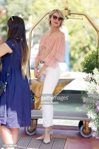 Eva Nestori is seen arriving at the 75th Venice Film Festival at Darsena Excelsior on August 28, 2018 in Venice, Italy.