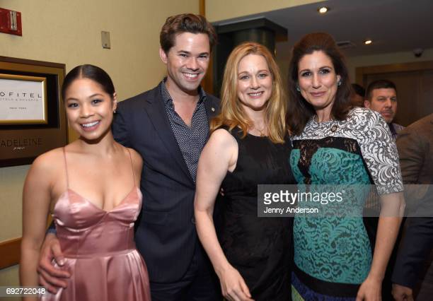 Eva Noblezada Andrew Rannells Laura Linney and Stephanie J Block attend the Tony Honors Cocktail Party Presenting The 2017 Tony Honors For Excellence...