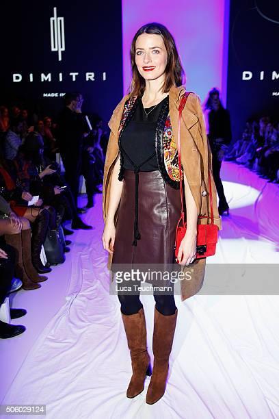 Eva Padberg attends the Dimitri show during the MercedesBenz Fashion Week Berlin Autumn/Winter 2016 at Brandenburg Gate on January 21 2016 in Berlin...