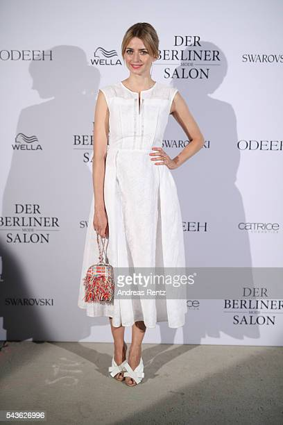 Eva Padberg attends the Odeeh defilee during the Der Berliner Mode Salon Spring/Summer 2017 at Berliner Schloss city palace on June 28 2016 in Berlin...