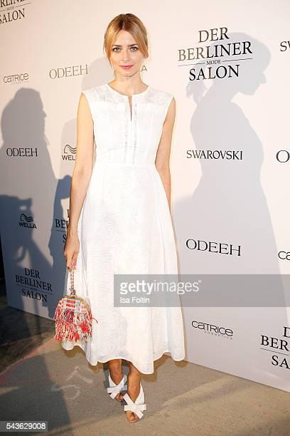 Eva Padberg attends the Odeeh defilee during the Der Berliner Mode Salon Spring/Summer 2017 at Berliner Schloss city palace on June 28 2016 in Berlin...