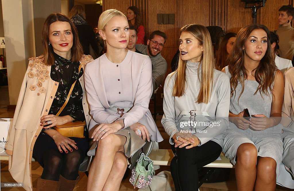 Eva Padberg, Franziska Knuppe, Cathy Hummels and Namika attend the Marina Hoermanseder show as part of Der Berliner Mode Salon during the Mercedes-Benz Fashion Week Berlin Autumn/Winter 2016 at Kronprinzenpalais on January 21, 2016 in Berlin, Germany.