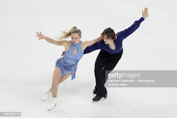 Eva Pate and Logan Bye skate in the Ice Dance Rhythm Dance Program during the ISU Grand Prix of Figure Skating at Orleans Arena October 23, 2020 in...