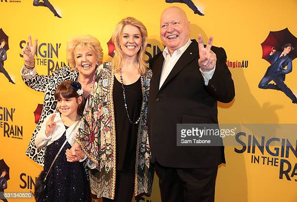 Eva Patti Lauren and Bert Newton arrive ahead of opening night of Singin' In The Rain at Her Majesty's Theatre on May 14 2016 in Melbourne Australia