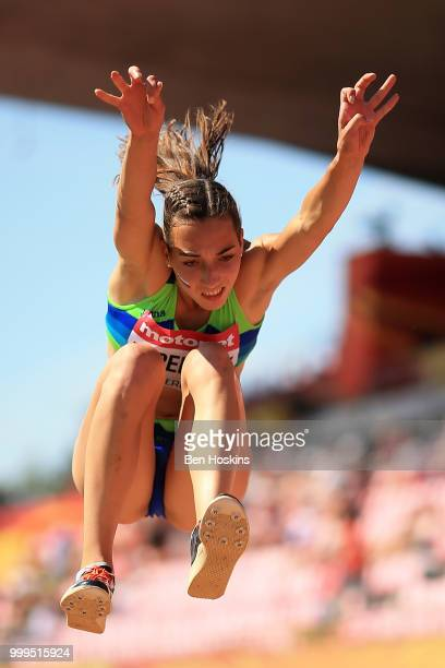 Eva Pepelnak of Slovenia in action during the final of the women's triple jump on day six of The IAAF World U20 Championships on July 15 2018 in...