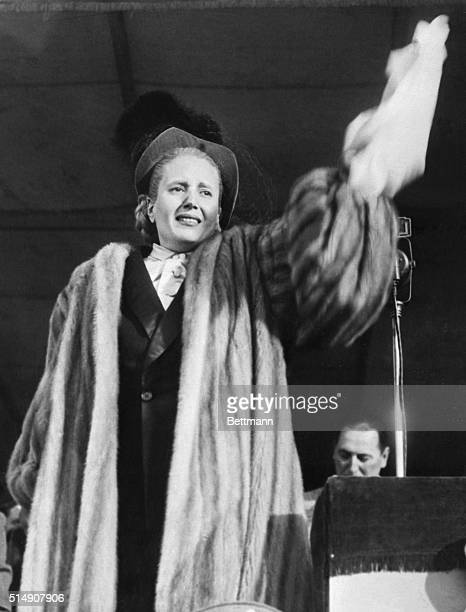 Eva Peron acknowledges a cheering crowd upon her return from Europe Peron addressed the waiting crowd at the airport speaking of her disappointment...