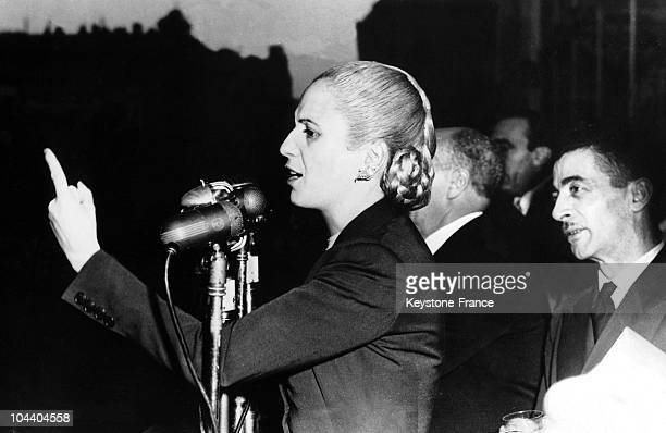 Eva PERON makes her election address during the demonstrations in Buenos Aires One million workers converged on Buenos Aires to demand that President...