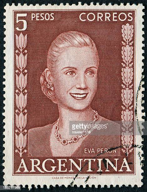 eva peron stamp - eva perón stock pictures, royalty-free photos & images