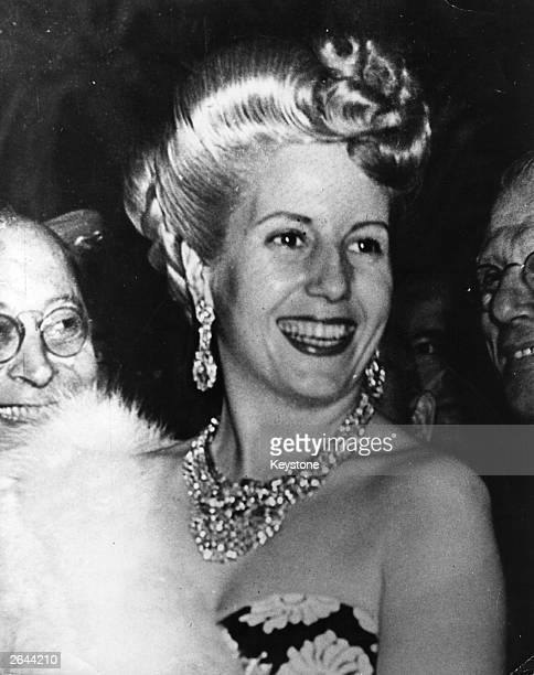 Eva Peron the former actress and wife of the Argentinian president Juan Peron otherwise known as 'Evita' attending a function in Rome during her tour...