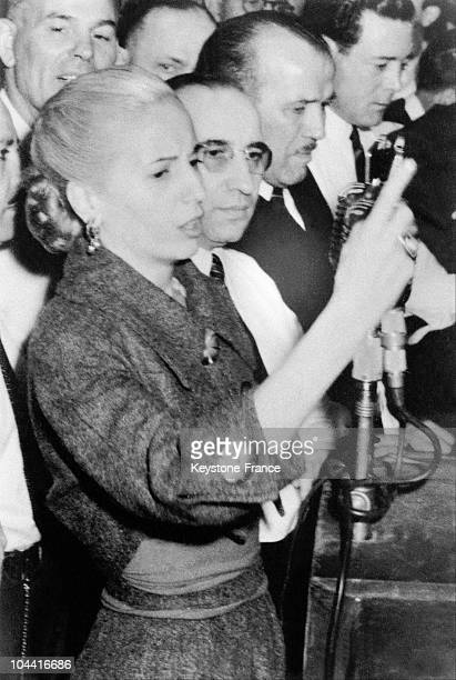 Eva PERON wife of the Argentine leader Juan PERON giving a speech on May first in Argentina