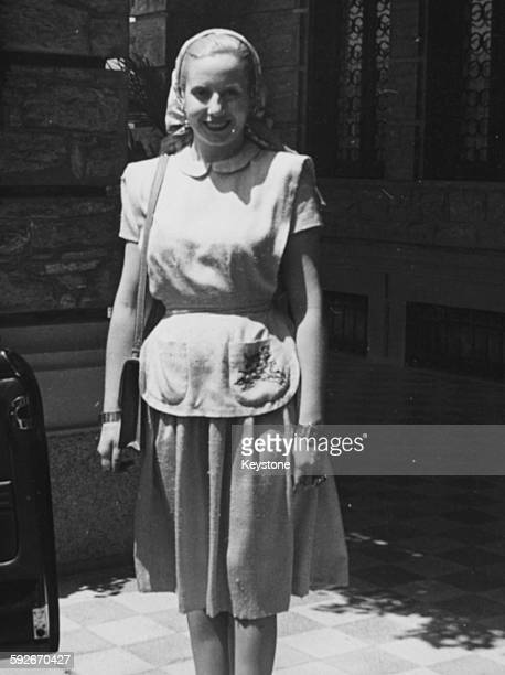 Eva Peron wife of the President of Argentina pictured on holiday in Rapallo July 18th 1947