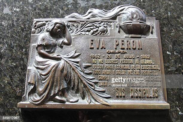 Eva Peron's grave in the vault of the Duarte family at La Recoleta Cemetary