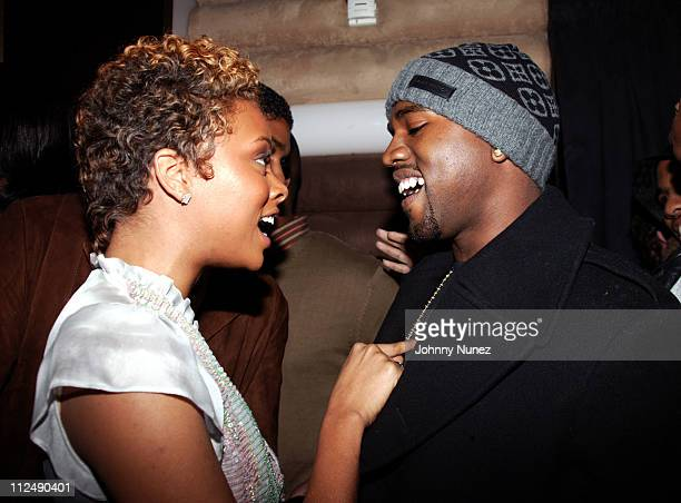 Eva Pigford and Kanye West during Kanye West and Groovevoltcom Present a Private Screening of BET's Rip the Runway at Cielo in New York City New York...