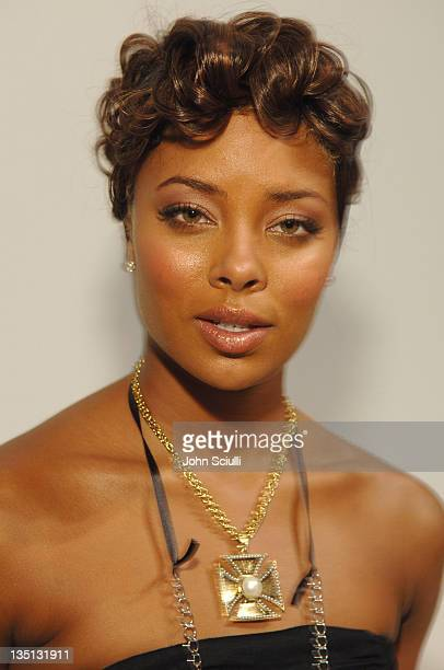 Eva Pigford backstage at NAQADA Spring 2006 during MercedesBenz Spring 2006 LA Fashion Week at Smashbox Studios NAQADA Front Row and Backstage at...