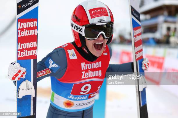 Eva Pinkelnig of Austria reacts after her jump during the first round of the HS109 women's ski jumping Competition of the FIS Nordic World Ski...